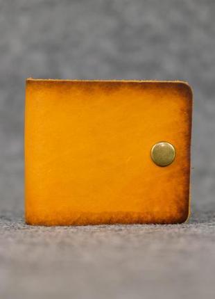 Кожаный компактный кошелек женский натуральная итальянская кожа жёлтый янтарь