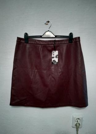 """Стильная юбка экокожа """" бордо """" большого размера"""