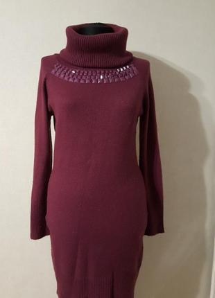 Теплое сиреневое платье s/m