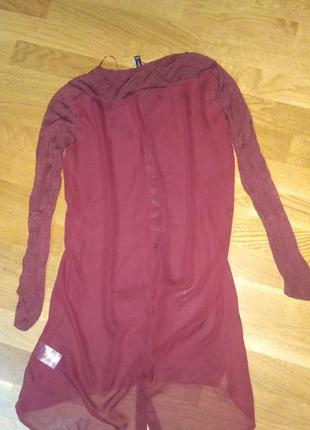 Трикотажная рубашка туника с шифоновой спинкой цвета бордо бренда lipo lipo