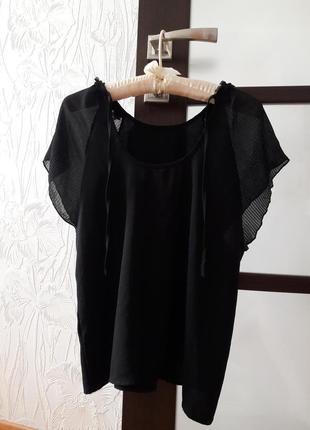 Топ блуза вечерняя с плиссированными рукавами.плиссе