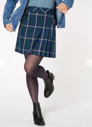 Трендовая юбка в клетку / на размер xl