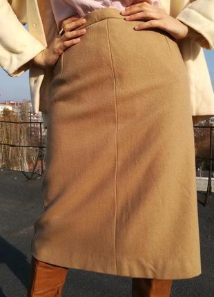 Идеальная юбка цвета кемел из 2х видов шерсти