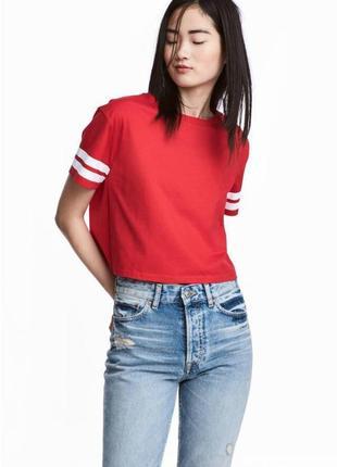 Красная блуза футболка с полосками zara