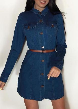 Плотное джинсовое платье на пуговицы