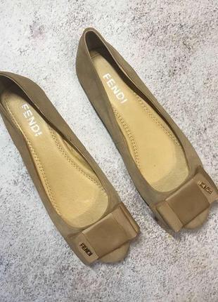 Замшевые мокасины балетки туфли с бантиком на низком ходу