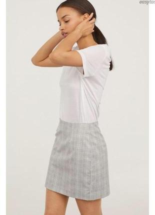 Стильная юбка в серую клетку от h&m