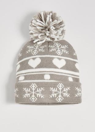Новая серая шапка польша новый год рождество узор снежинка снег сердце полоски помпон