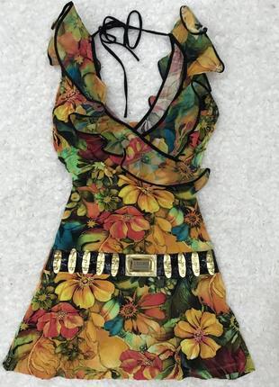 Цветочное платье сарафан с рюшей lasagrada
