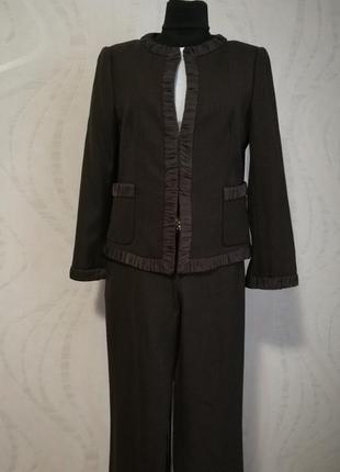 Брючный костюм шоколодного цвета,брюки +жакет,zara