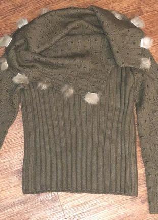 Турецкий шерстяной свитер цвета хаки из натуральной шерсти.