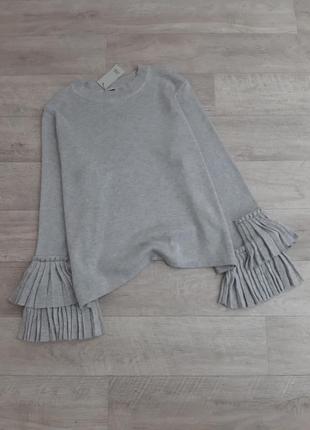 Серый свитер с расклешенными рукавами river island