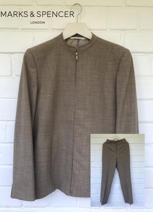 New! шерстяной брючный костюм от marks & spencer размер l/12/40.