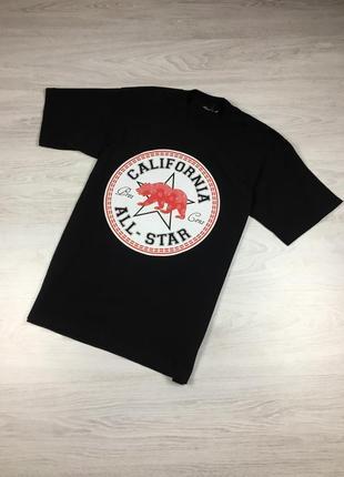 Крутая черная мужская футболка california all-star converse