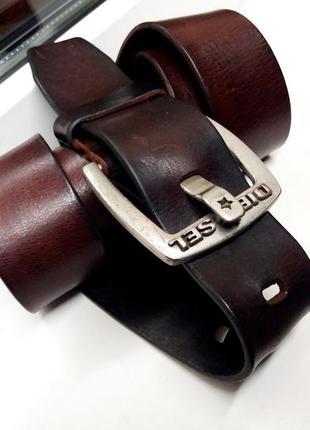 """Дорогой широкий прочный и супер-мягкий кожаный ремень """"diesel"""" . италия. 110 см."""