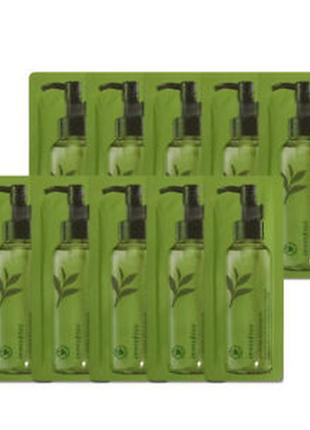 Гидрофильное масло с зеленым чаем innisfree green tea cleansing oil пробник 1 мл
