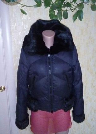 Крутой пуховик-бомбер с натуральным мехом/пальто/куртка/плащ/пуховик/бомбер/шуба