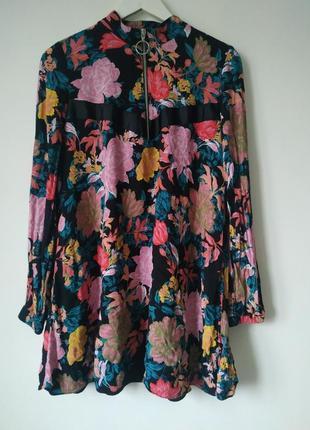 100% вискоза невероятно красивое платье на подкладке цветочный принт длинный рукав
