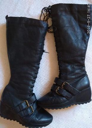 Шикарні шкіряні зимні чоботи