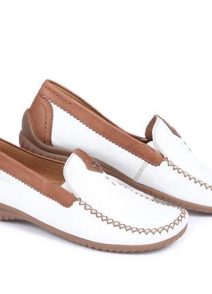 Кожаные балетки мокасины лодочки туфли на низком ходу