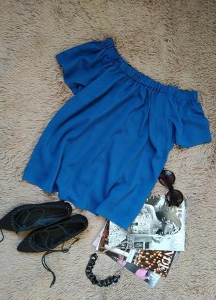 Шикарная синяя блузка с открытыми плечами/блуза/кофточка/топ