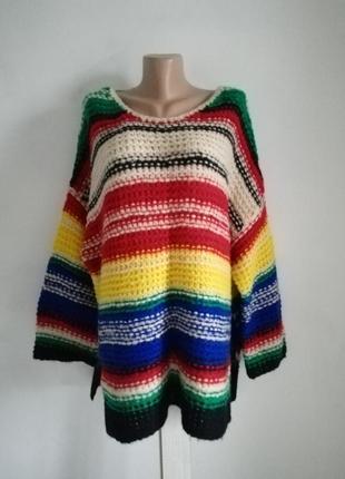 🍁 шерстяной объёмный свитер в полоску 🍁свитер крупной вязки