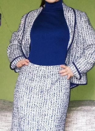 Жакет букле в стиле chanel, юбка миди букле, костюм шерстяной 42-44!