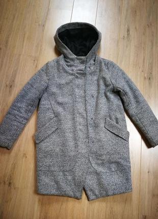 Пальто плащ куртка капюшон дубленка