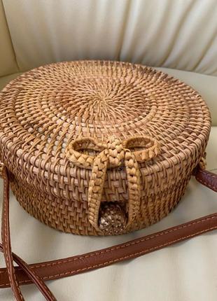 Сумка круглая из ротанга, плетеная пляжная сумка, сумка бали соломенная