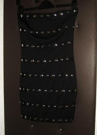 Мини платье kikiriki чёрное с камнями стразами обтягивающее облегающее