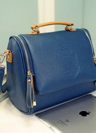 Сумочка женская синяя оксфорд с длинным ремешком