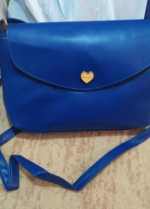 Сумочка женская синяя с сердечком через плече