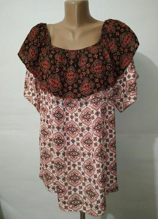 Натуральная новая блуза большой размер в орнамент f&f uk 22/50/4xl
