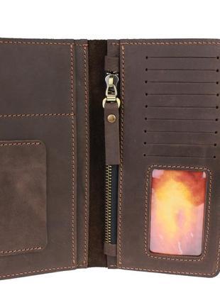 Кожаный кошелек коричневый ручной работы