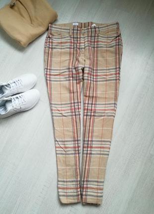 🍁бежевые шерстяные брюки в клетку в стиле dior🍁 винтажные бежевые  брюки