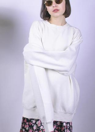 Белый свитшот, свитшот оверсайз, женская толстовка, белая толстовка