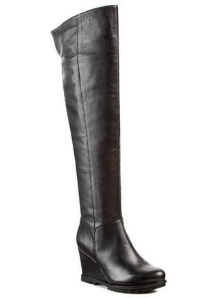Unisa, высокие кожаные сапоги на танкетке, ботфорты