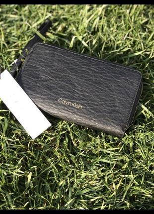 Кошелёк портмоне клатч calvin klein чёрный вместительный идеально на подарок