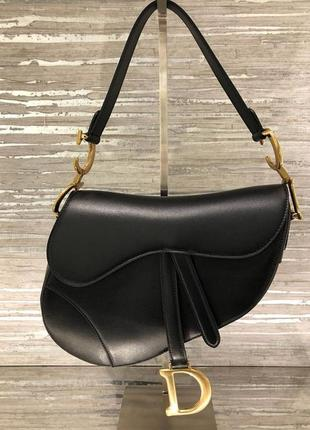 Сумка christian dior saddle bag black calfskin / диор седло