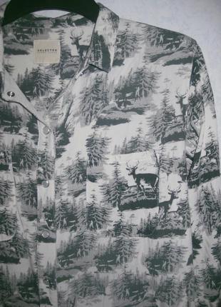 Рубашка selected femme jeans белая с серым рисунок олень