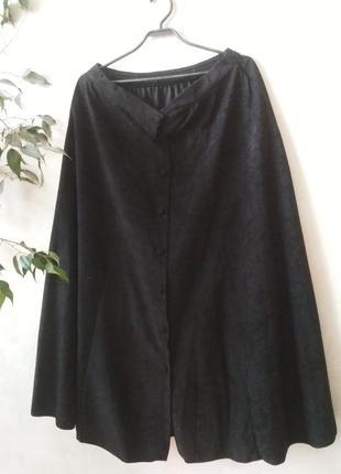Крутая миди юбка с пуговицами под велюр большого