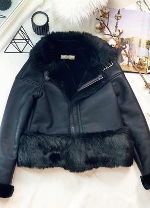 Дубленка кожаная экокожа на меху чёрная zara куртка курточка тёплая