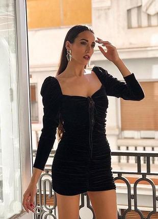 Бархатное вечернее платье zara