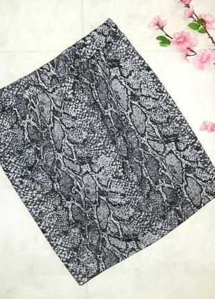 🌿обнова 🎁1+1=3 короткая плотная юбка-карандаш под питона змеинный принт, размер 46 - 48