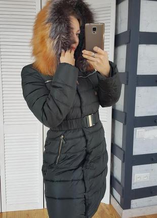 Зимнее пальто с мехом лисы и чернобурки