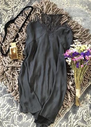 Платье, сарафан zara в бельевом стиле с кружевом ( вискоза )