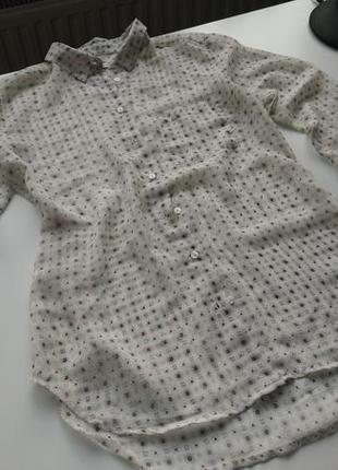 Белая полупрозрачная рубашка