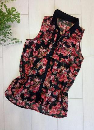 Блуза,  блузка  цветочный принт