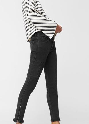 Черные джинсы от mango, низ обрезан, 38, 40р, оригинал