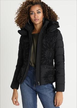 ❄️ 💕 стильный зимний пуховик тёплая куртка с необычным бархатным принтом от desigual ❄️💕